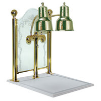 Hanson Heat Lamps DLM/CC/WB/BR Dual Bulb 20 inch x 24 inch Brass Carving Display with White Solid Surface Base and Sneeze Guard