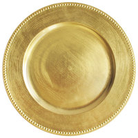 The Jay Companies 1180005AP-F 13 inch Round Gold Beaded Melamine Charger Plate