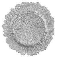The Jay Companies 1470111 13 inch Round Reef Silver Glass Charger Plate