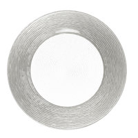 The Jay Companies 1470275 13 inch Round Circus Silver Border Glass Charger Plate