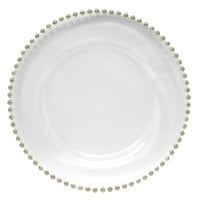 The Jay Companies 13 inch Round Silver Beaded Glass Charger Plate