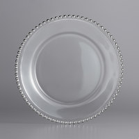 The Jay Companies 1900006 13 inch Round Silver Beaded Glass Charger Plate