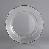 The Jay Companies 1970002 13 inch Round Clear Platinum Rim Glass Charger Plate