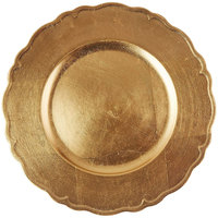 The Jay Companies A215GR 13 inch Round Gold Regency Plastic Charger Plate