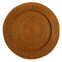 The Jay Companies 13 inch Round Honey Rattan Charger Plate