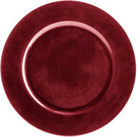 The Jay Companies 1421919BK-F 13 inch Round Red Plastic Charger Plate