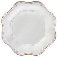 The Jay Companies A275WG 13 inch Round White Baroque Plastic Charger Plate