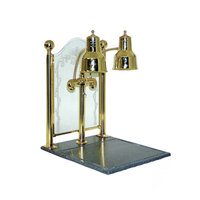 Hanson Brass DLM/CC/BB/BR Dual Bulb 20 inch x 24 inch Brass Carving Display with Synthetic Granite Base and Sneeze Guard
