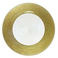 The Jay Companies 1470276 13 inch Round Circus Gold Border Glass Charger Plate