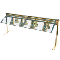 Hanson Brass D-SNG-2 H.B. 70 inch Double-Sided Sneeze Guard with Feet and Two Heat Bars