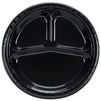Creative Converting 019260 10 inch 3 Compartment Black Velvet Plastic Plate   - 200/Case