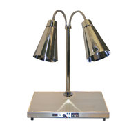 Hanson Heat Lamps DLM/HB/900/ST2024 Streamline Style Dual Bulb 20 inch x 24 inch Brass Carving Station with 900 Series Shades and Heated Base - 220V