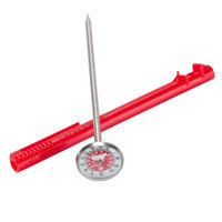 Taylor 6092NRDBC 5 inch Reduce Cross-Contamination Thermometer - Red / Raw Meat