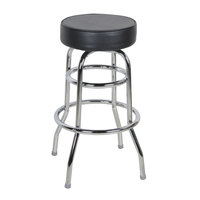 Lancaster Table & Seating Black Double Ring Barstool with 3 1/2 inch Thick Seat
