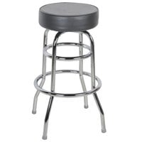 Lancaster Table &amp&#x3b; Seating Black Double Ring Barstool with 3 1/2 inch Thick Seat