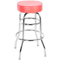 "Lancaster Table &amp&#x3b; Seating Red Double Ring Barstool with 3 1/2"" Thick Seat"