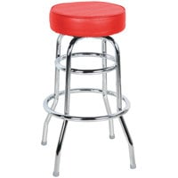 Lancaster Table & Seating Red Double Ring Barstool with 3 1/2 inch Thick Seat