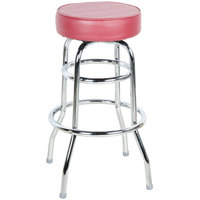 "Lancaster Table &amp&#x3b; Seating Crimson Double Ring Barstool with 3 1/2"" Thick Seat"