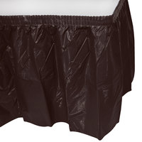 Creative Converting 10383 14' x 29 inch Chocolate Brown Disposable Plastic Table Skirt