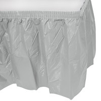 Creative Converting 10043 14' x 29 inch Shimmering Silver Disposable Plastic Table Skirt