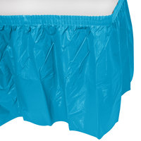 Creative Converting 743131 14' x 29 inch Turquoise Blue Disposable Plastic Table Skirt