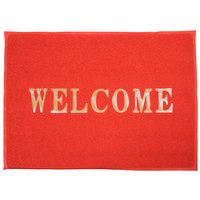 4' x 3' Red Welcome Entrance Floor Mat
