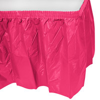 Creative Converting 10030 14' x 29 inch Hot Magenta Pink Disposable Plastic Table Skirt