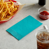 Choice 15 inch x 17 inch Customizable Teal 2-Ply Paper Dinner Napkin - 125/Pack