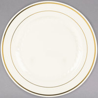 Fineline Silver Splendor 509-BO 9 inch Bone / Ivory Customizable Plastic Plate with Gold Bands - 120/Case