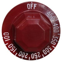 All Points 22-1167 2 inch Red Griddle Thermostat Knob (Off, 100-450)