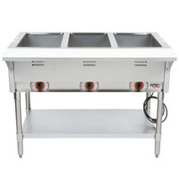 APW Wyott ST-3S Three Pan Exposed Stationary Steam Table with Stainless Steel Legs and Undershelf - 1500W - Open Well, 240V