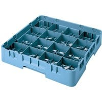 Cambro 16S800414 Camrack 8 1/2 inch High Customizable Teal 16 Compartment Glass Rack