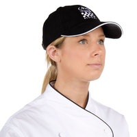 Chef Revival H064BK Black 100% Cotton Baseball / Chef Cap with White Logo