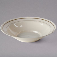 WNA Comet MPBWL10IPREM 10 oz. Ivory Masterpiece Bowl with Gold Accent Bands - 150/Case