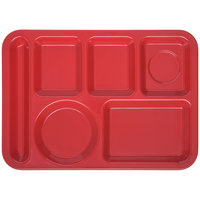 Carlisle 4398005 10 inch x 14 inch Red Heavy Weight Melamine Left Hand 6 Compartment Tray
