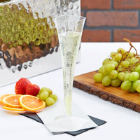 Fineline Wavetrends 1205 Clear Plastic 5 oz. 1-Piece Champagne Flute   - 6/Pack