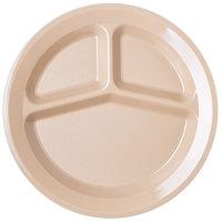 Carlisle PCD21125 Tan 3 Compartment Narrow Rim 11 inch Polycarbonate Plate - 48/Case