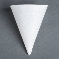 Genpak Harvest W42F 4.5 oz. White Rolled Rim Paper Cone Cup 5000 / Case