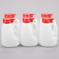 Tablecraft MW64R 64 oz. Option Dispenser with Red Top - 6/Pack