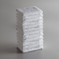 Choice 16 inch x 19 inch White 32 oz. Cotton Ribbed Terry Bar Towel - 12/Pack