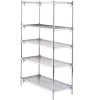 Metro 5A337C Stationary Super Erecta Adjustable 2 Series Chrome Wire Shelving Unit - 18 inch x 36 inch x 74 inch