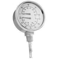 All Points 62-1089 Pressure / Temperature Gauge; 0 - 200 PSI; 80 - 320 Degrees Fahrenheit; 1/2 inch MPT Bottom Mount