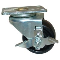 Delfield 3234186 Equivalent 3 inch Swivel Plate Caster with Brake - 500 lb. Capacity