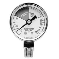 All Points 62-1053 Pressure Gauge; 0 - 30 PSI; 1/4 inch MPT Bottom Mount