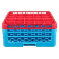 Carlisle RG25-3C410 OptiClean 25 Compartment Red Color-Coded Glass Rack with 3 Extenders