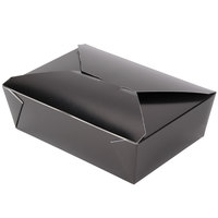 Bio-Pak 03BPBLACKM 8 inch x 6 inch x 2 1/2 inch Black Paper #3 Microwavable Take-Out Container - 200/Case