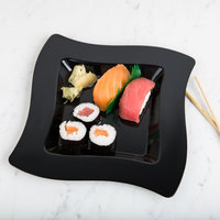 Fineline Wavetrends 108-BK 8 inch Black Customizable Plastic Square Plate - 120/Case