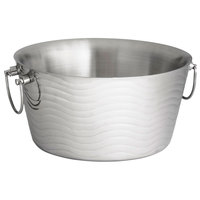 Tablecraft WBT14 Wave Round Stainless Steel Double-Walled Beverage Tub - 14 1/2 inch x 7 1/2 inch