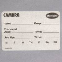 Cambro 23SLB6250 250 Count StoreSafe 3 inch x 2 inch Dissolvable Product Label Roll - Printed - 6/Case