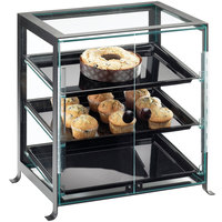 Cal-Mil 1575-S-13 Soho Three Tier Black Display Case with Front Doors - 21 1/4 inch x 15 3/4 inch x 20 3/4 inch